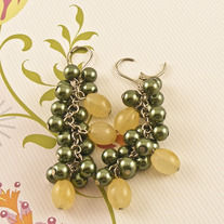 Green Pearl, Lemon Jade Earrings