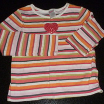 Multi Striped Long Sleeve Shirt With Sequins Heart-Gymboree Size 7
