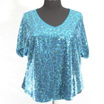eyeshadow Turquoise Animal Print Sequin Top