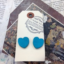 Small Wood Heart Earrings *Available in other colors