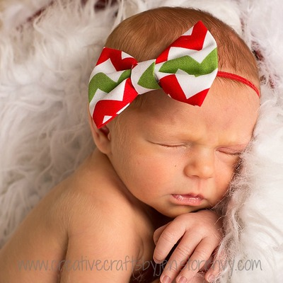Christmas Chevron Mini Fabric Bow Headband