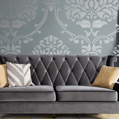... Wall stencil damask extra large allower pattern wall room decor made by  omg stencils home improvements