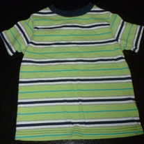 Lime Green/Navy/White Stripe Short Sleeve Shirt-Jumping Beans Size 4T