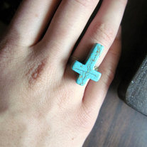 HANDMADE Upside Down Turquoise Stone Cross Shaped Adjustable Ring