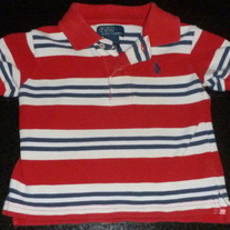 Red/White/Navy Stripe Short Sleeve Shirt-Ralph Lauren Polo Size 12 Months