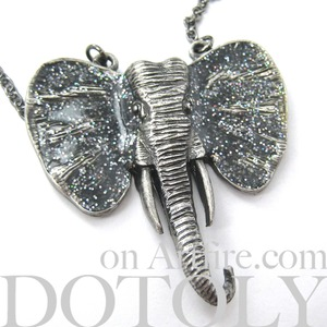 Large Elephant Animal Necklace in Silver with Turquoise Glitter Ears