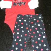 Red Long Sleeve Ones Mom's little Angel with Matching Black Polka Dot Pants-Jumping Beans Size 6 Months  CLM1