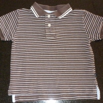 Brown/White Stripe Short Sleeve Polo Style Shirt-Baby Gap Size 3T