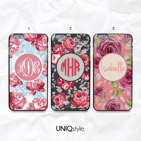 vintage floral personalized custom monogram name phone case for iphone 7  6  6s  samsung s6 s7 s8