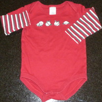 Red Long Sleeve Onesie with Pandas-Gymboree Size 12-18 Months