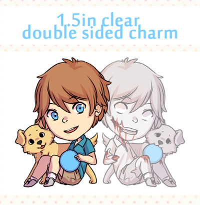 1.5in Double Sided Zombie + Dog Clear Acrylic Charms