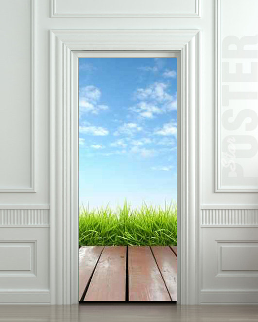 Door Sticker Landscape Cloud Grass Village Exit Natural Mural Decole Film  Self Adhesive Poster 30x79