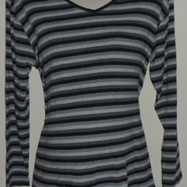 Black/Gray Stripe Long Sleeve Shirt-Take Nine Maternity Size XL