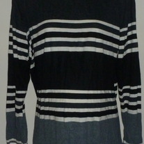 Gray/White/Black Stripe Long Sleeve Shirt-Due Date Size XL