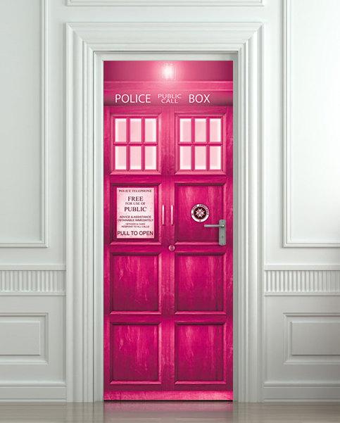 Crazy Stuff Door Sticker Pink Police Box Magical Mural