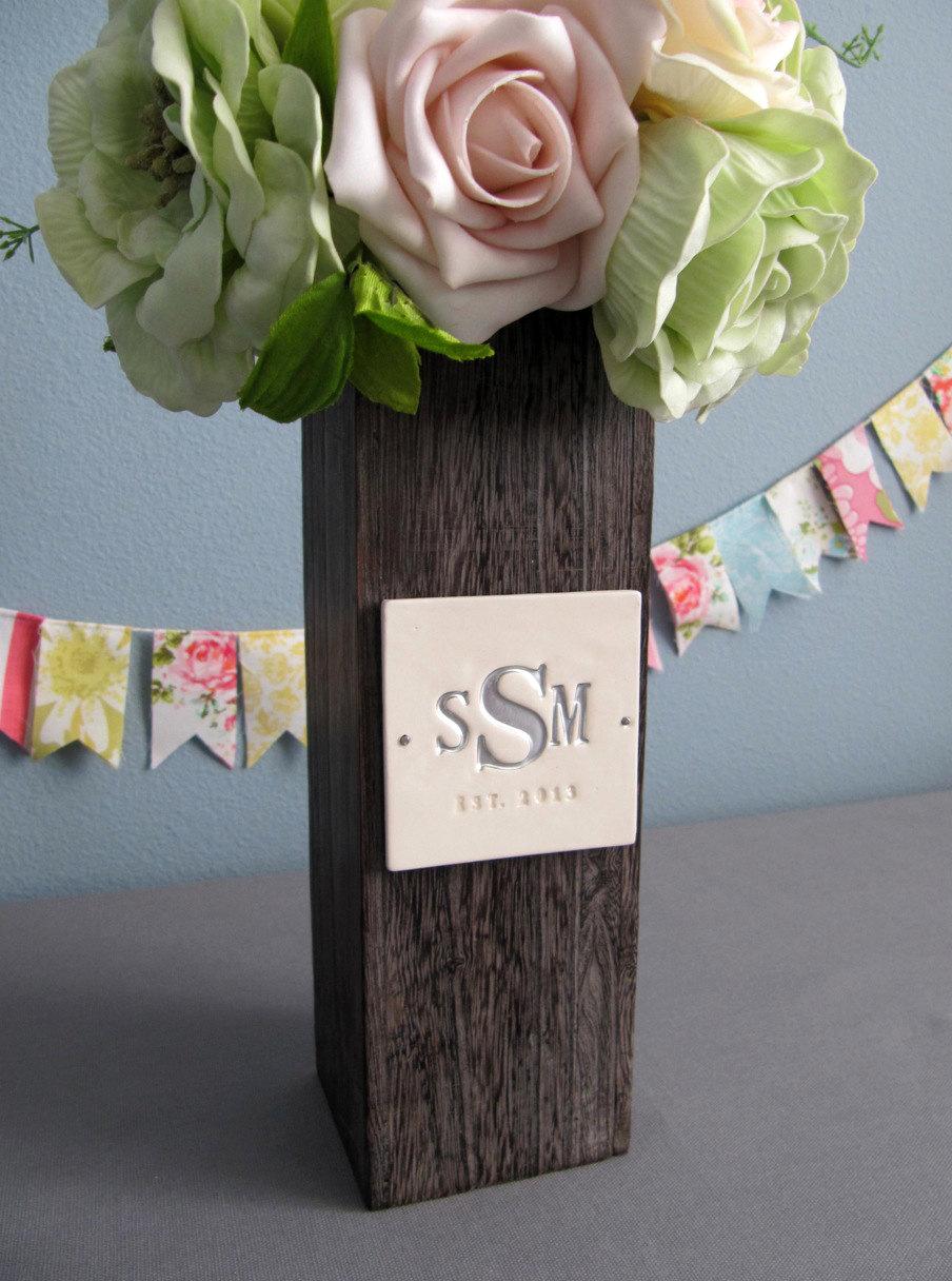 Personalised Vase Wedding Gift : Susabella PERSONALIZED Wedding GiftMonogrammed Kiri Wood Vase ...