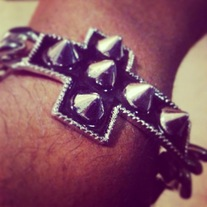 Black Spike Cross Bracelet