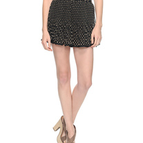 M taupe brown polka-dot black ribbed knife pleat chiffon flare mini skirt