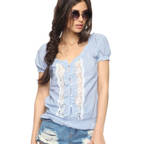 M blue white stripe puff sleeve blouse lace top