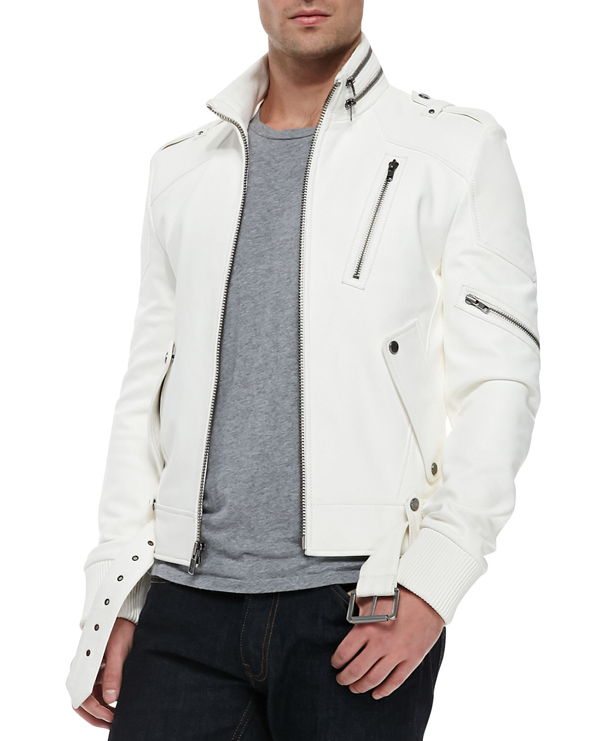 White mens leather jacket men biker leather jacket for Mens white leather shirt