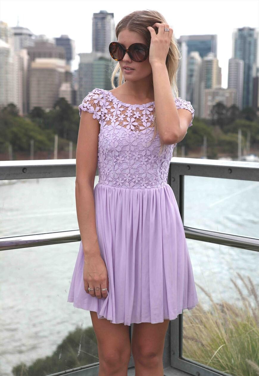 Purple new sexy lace halter chiffon dress Charming ...