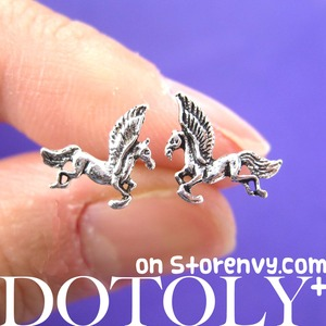 Small Unicorn Horse Animal Stud Earrings in Sterling Silver