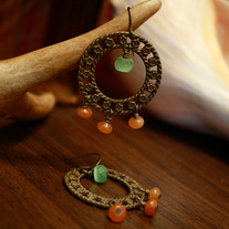 Brass Frame, Green Glass, and Aventurine Earrings