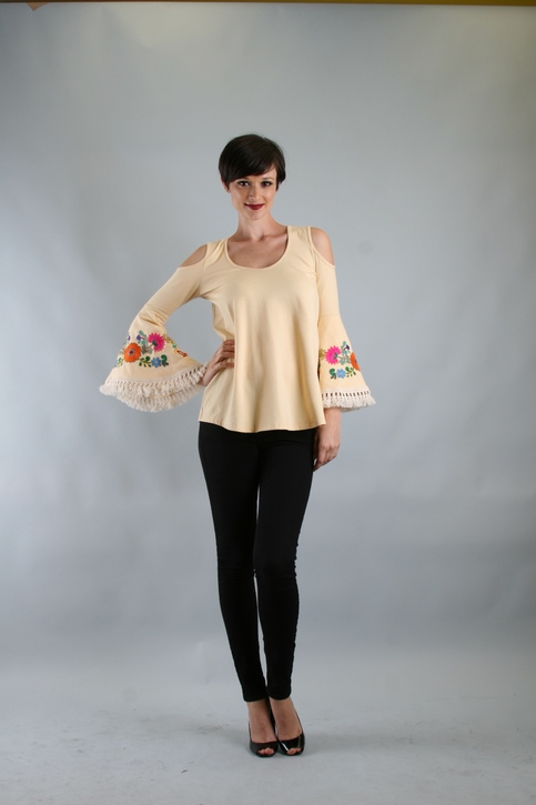 Green Apple | VaVa by Joy Han Brynn Open Shoulder Top Cream | Online Store Powered by Storenvy :  tassel embroidered open shoulder cream