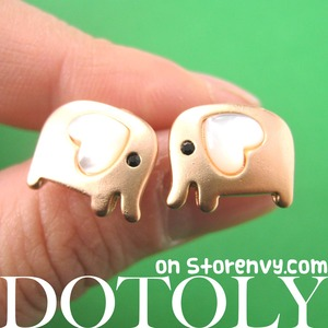 Small Elephant Earrings in Copper with Heart Shaped Ears - ALLERGY FREE