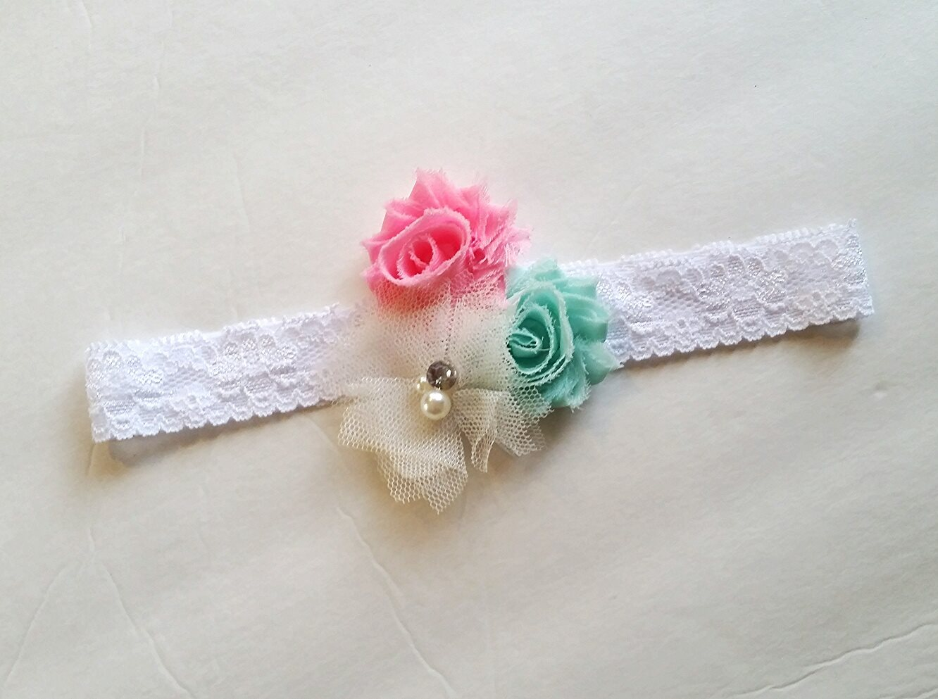 Pink Mint White Flower Headband Harley Michelles Boutique