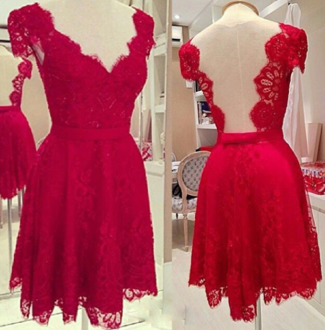 Red Lace Cap Sleeves Cocktail Dress With Open Back · Beloves ...
