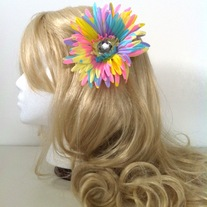 big diamond rhinestone jewel pastel rainbow daisy hair flower clip
