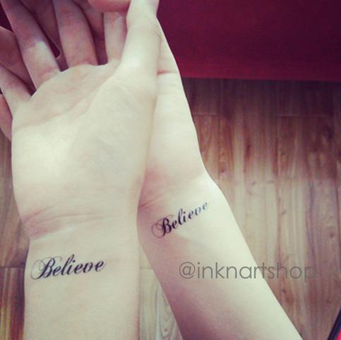 2pcs believe script tattoo inknart temporary tattoo for Wrist tattoo prices