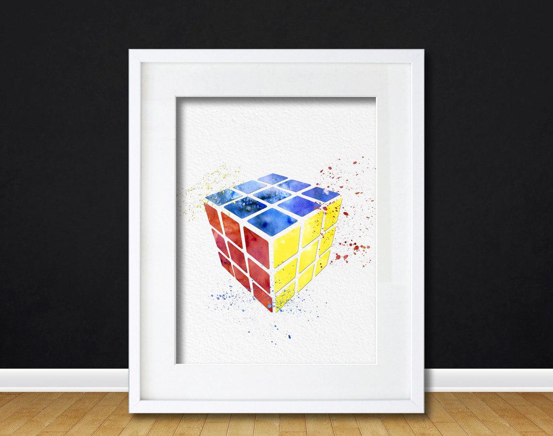 Watercolor art rubiks cube gift modern 8x10 wall art decor nerd culture illustration art wall - Cube wall decor ...