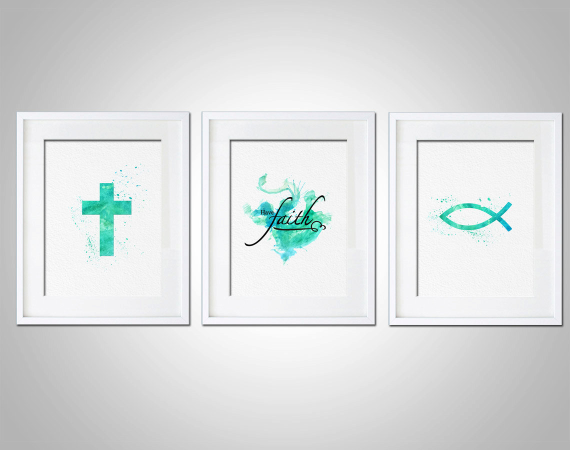 Watercolor Art Print Religious Have Faith Art Print Set Of 3 Modern 8x10 Wall  Art Decor