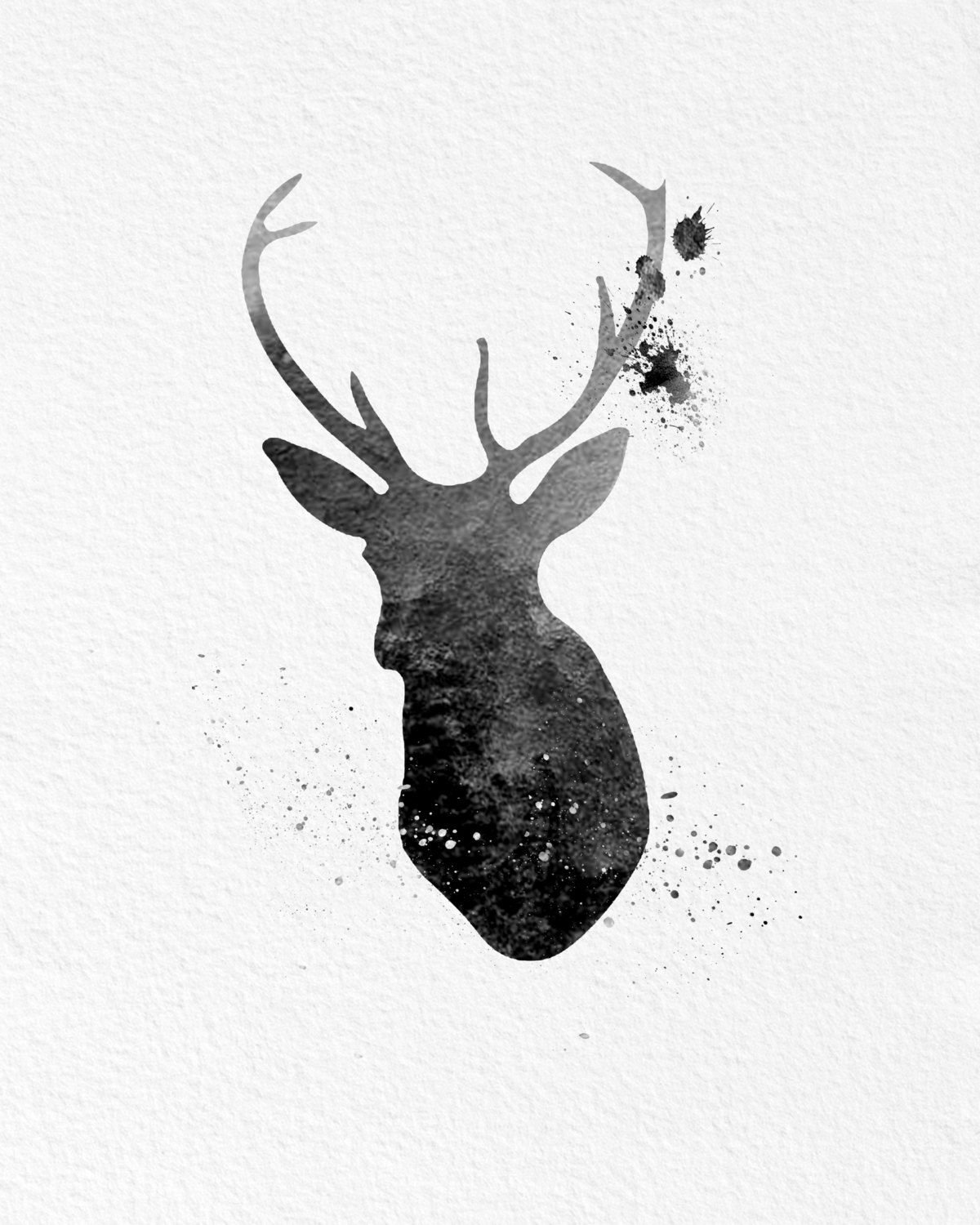 Attirant ... Watercolor Art Buck Deer Gift Modern 8x10 Wall Art Decor Buck Deer Wall  Hanging Print Black