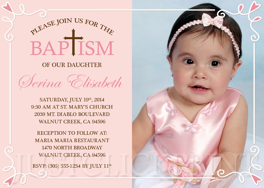 Girls Peachy Pink Brown Baptism Dedication Christening Invitation