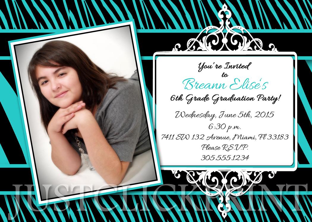 zebra print graduation announcement invitation printable just