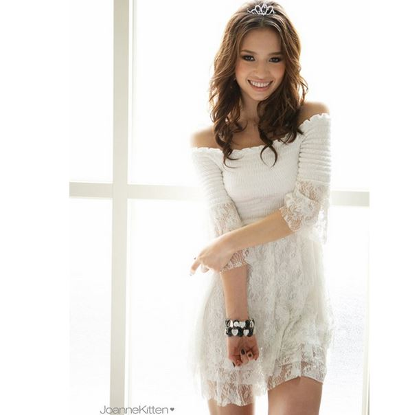 White Sexy Off-Shoulder Mini Dress Lace Fashion Dress ...