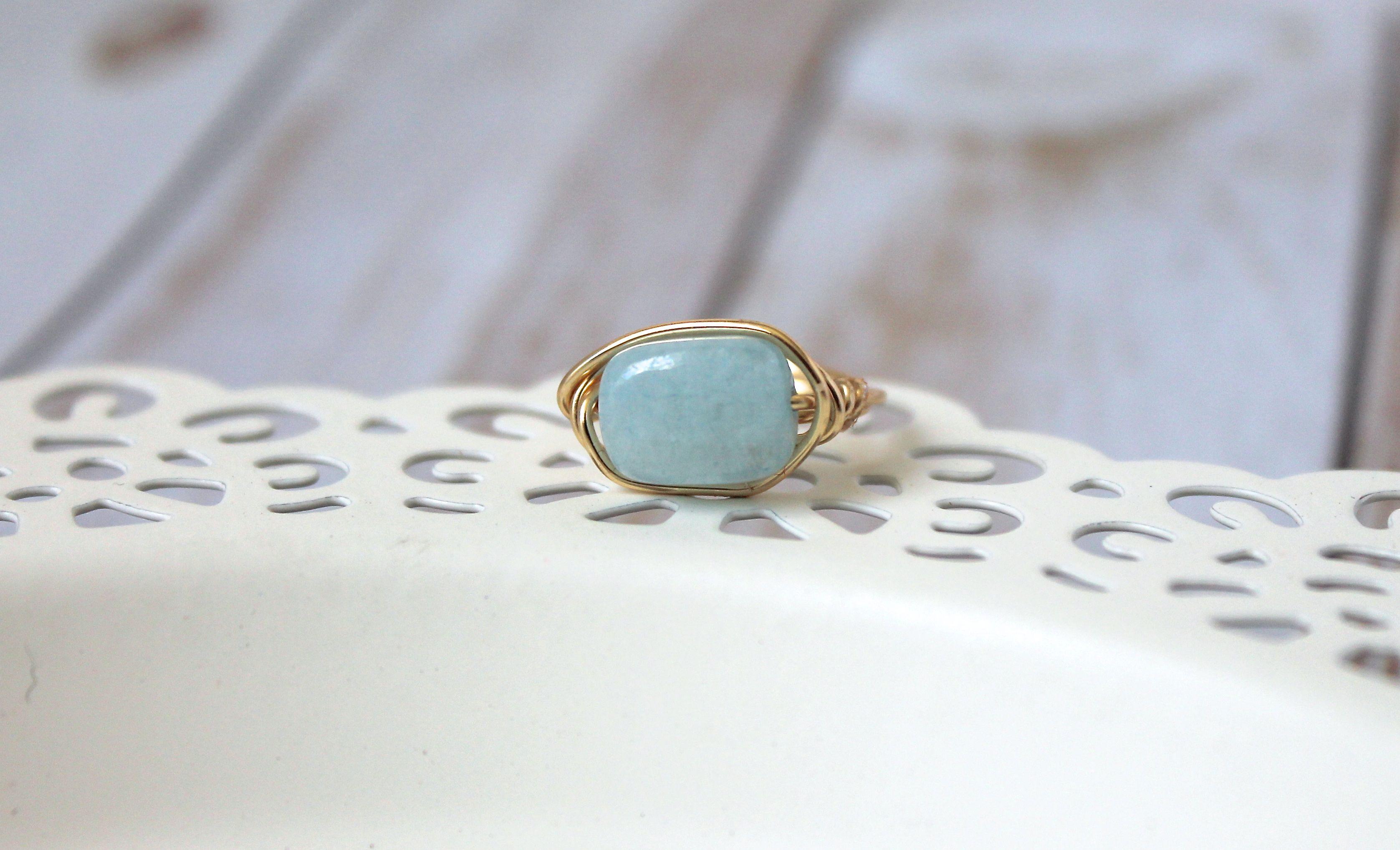 Blue Amazonite Gemstone Wire Wrapped Ring | Unique Ring | Amazonite ...