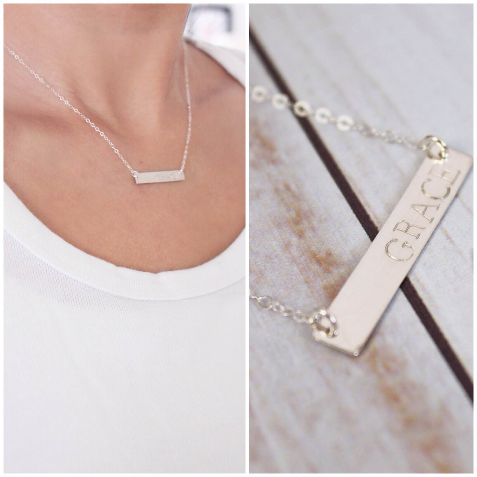 horizontal jewellery necklace stainless flat hand personalised stamped australia bar steel on thin pendant