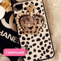 New Chic Furry White Leopard Pattern Pearls Crown iPhone Case