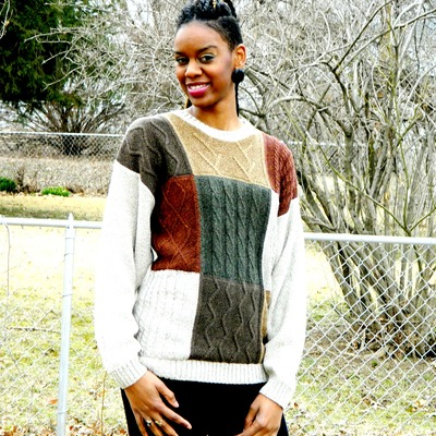 Square pattern fall color blend sweater
