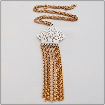 Long White and Gold Chain Necklace