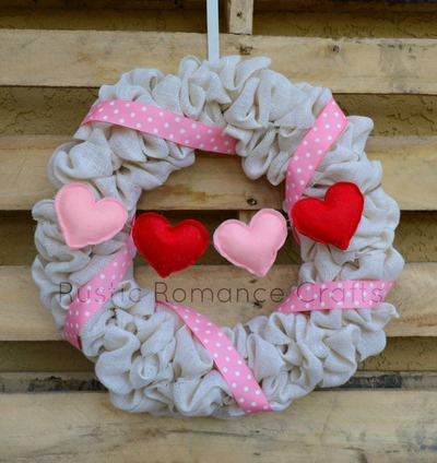 Felt Heart Burlap Wreath