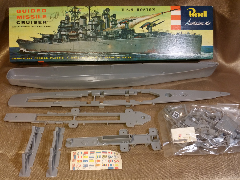 Vintage 1956 Revell Uss Boston Guided Missile Cruiser