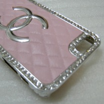 New Luxury Fashion Designer Mounted Rhinstones Pink iPhone Case