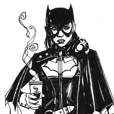 Batgirl coffee b4 work