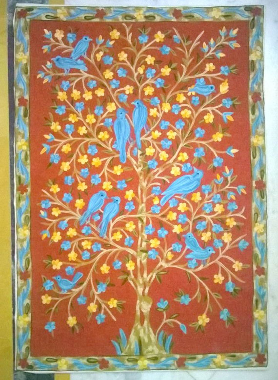 Fully Embroidered Tree With Birds Wall Hanging Nursery Rug