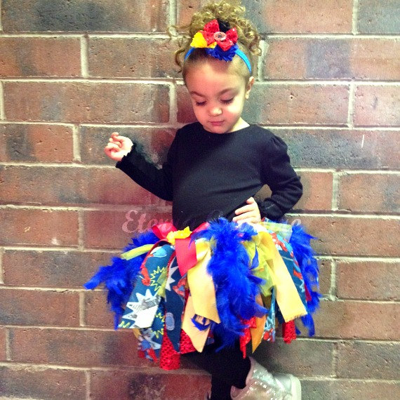 Spiderman Inspired Feather Superhero Tutu Skirt Dress Toddler